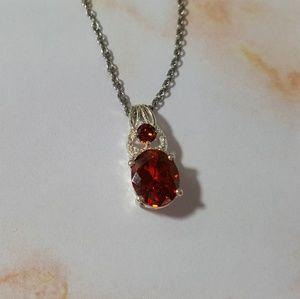 Jewelry - Garnet cubic zirconia Pendent